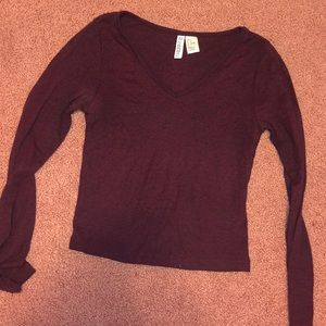 Longsleeve vneck crop top
